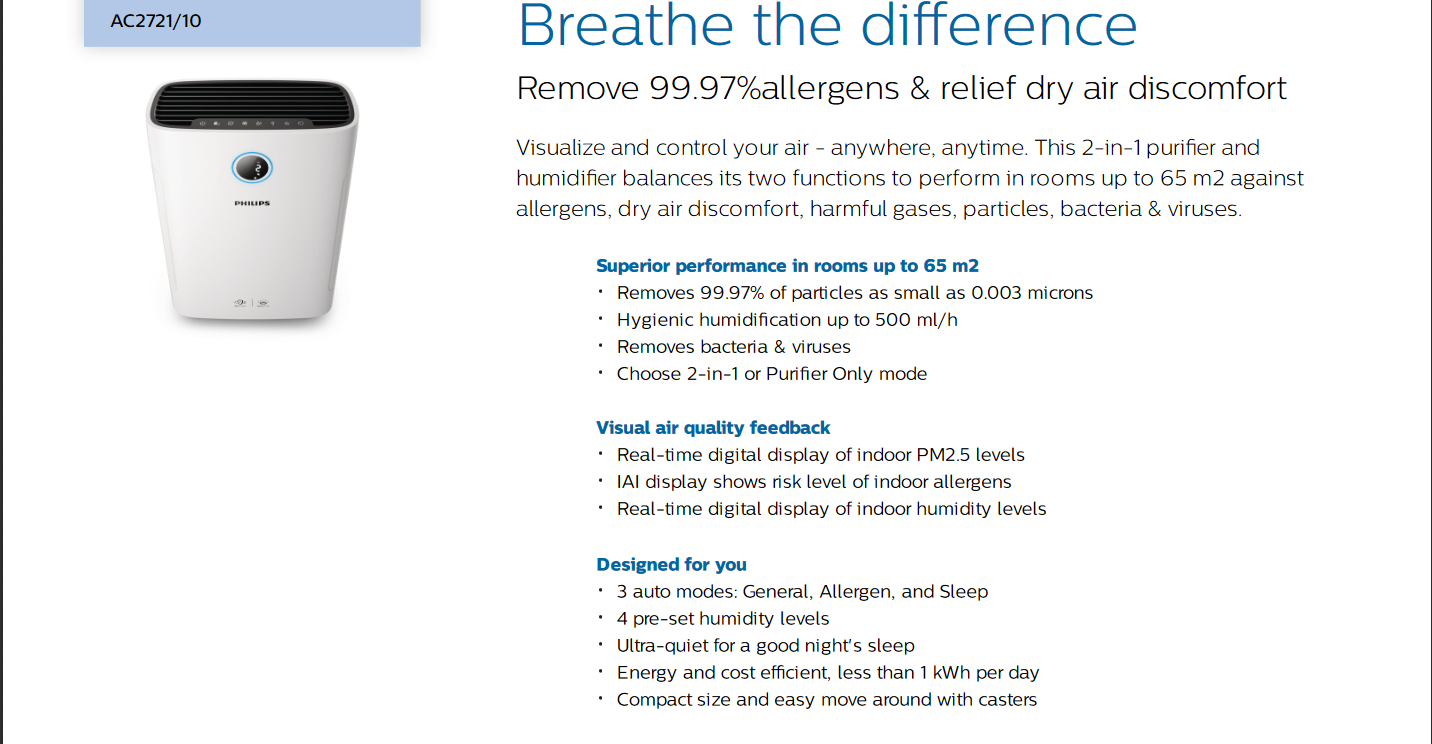 Best Electronics BDScreenshot 2020 09 04 AC2721 10 Philips 2 in 1 air purifier and humidifier Philips 3900049591 ac2721 10 pss pdf